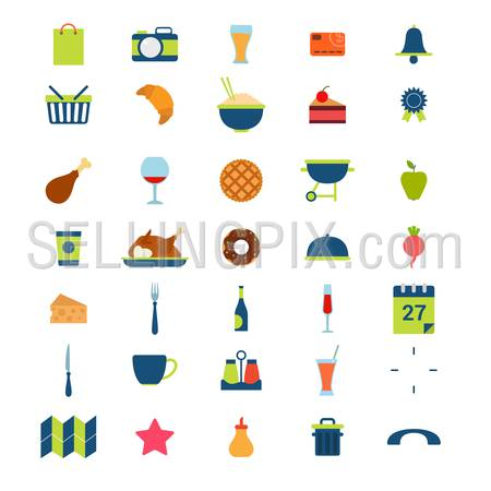 Flat style modern food beverage eat drink cafe restaurant booking meal time mobile web app interface icon pack set. Calendar schedule photo rating certificate cutlery donut tart meat wine application.