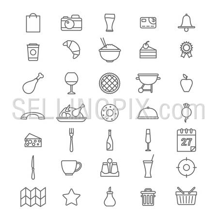 Line art style flat graphical set of web site mobile interface cafe restaurant fastfood pizzeria locator booking rating app icons pack. Dessert barbecue BBQ donut cheese. Lineart world collection.