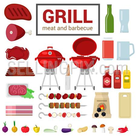 Flat style high detail quality icon set of grill meat barbecue BBQ objects. Сharcoal cutting board eggplant pepper onion ketchup mustard skewer kebab. Food beverage cooking kitchen outdoor collection.