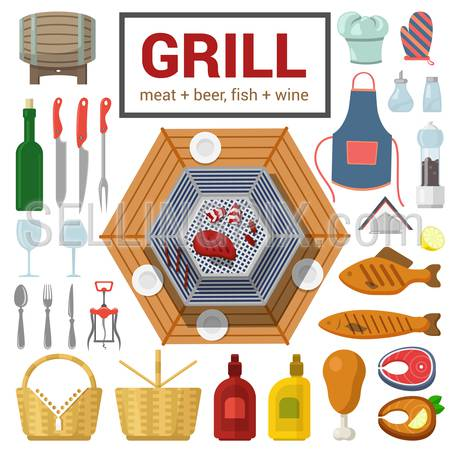 Flat style high detail quality icon set of grill meat fish barbecue BBQ steak object. Wine cutlery glass salt pepper ketchup mustard chicken leg corkscrew. Food beverage cooking outdoor collection