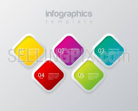 Infographics design vector template. Multicolor 5 step square rhombus cell process steps labels mockup template. Infographic background concepts collection.