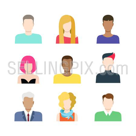 Set of casual people icons in flat style with faces. Vector men and women characters. Template concept collection of web profile avatar.
