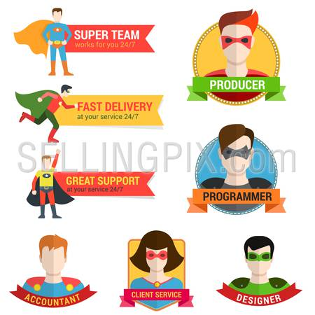 Flat style superhero character avatar on ribbon label creative design template. Man woman super hero profile full face view and place for text name.