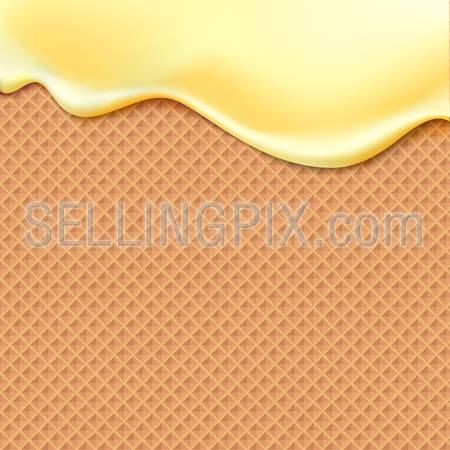 Flowing yellow glaze on wafer texture sweet food vector background abstract. Melt icing ice cream on waffle seamless pattern. Editable – Easy change colors.