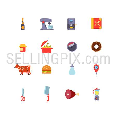 Kitchen stuff Cooking and Food icons flat design vector set: Champagne, Coffee machine, Jam, Pan, Donut, Cow, Sandwich, Sugar, Weights, Scissors, Hatchet, Ham, Leg of veal, Mixer.