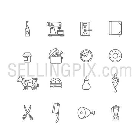 Kitchen stuff Cooking and Food icons lineart design vector set: Champagne, Coffee machine, Jam, Pan, Donut, Cow, Sandwich, Sugar, Weights, Scissors, Hatchet, Ham, Leg of veal, Mixer. Line art outline.
