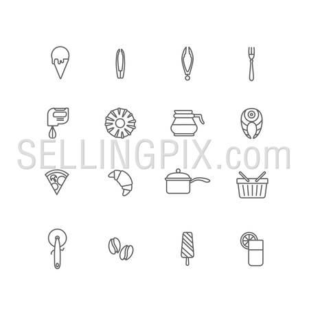 Food icons lineart design vector set: ice cream, spoon, tongs, mixer, donut, coffee pot, salmon, pizza, croissant, pan, shopping basket, ice cream, coffee beans, glass of fresh orange juice. Line art.