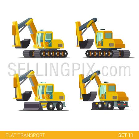 Flat isometric style modern construction site wheeled tracked vehicles transport web app icon set concept. Bulldozer motor grader excavator digger dredge power shovel. Build your own world collection.