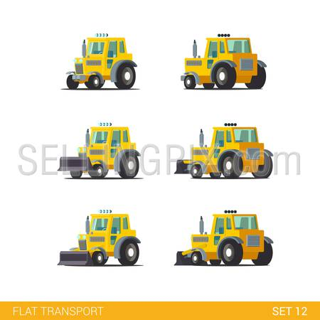 Flat isometric style modern construction site wheeled tracked vehicles transport web app icon set concept. Tractor motor grader. Build your own world collection.