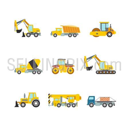 Flat creative style modern construction site wheeled tracked vehicles transport web app icon set concept. Bulldozer motor grader excavator digger dredge power shovel. Build your own world collection.