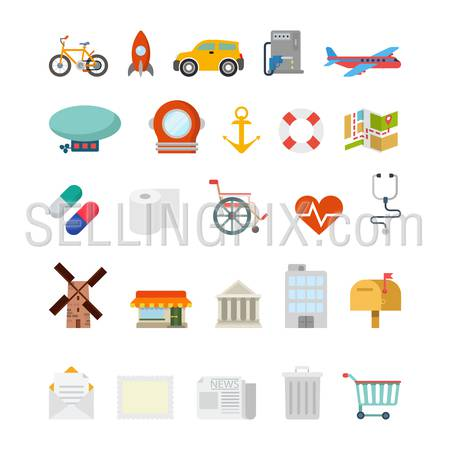 Flat creative style modern travel vacation tourism healthcare navigation infographic vector icon set. Bicycle rocket car plane map scuba zeppelin anchor pills message. Leisure icons collection.