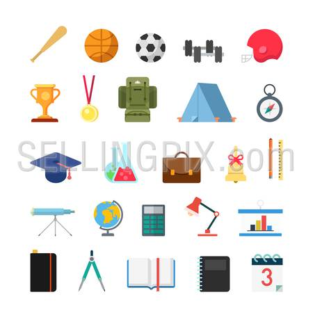 Flat creative style modern school college sports education infographic vector icon set. Bat ball cup trophy medal compass cap chemistry bell geography astronomy math lib. Lifestyle icons collection.