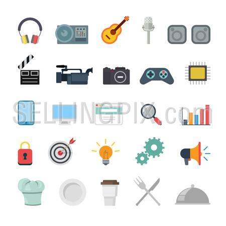 Flat creative style modern misc media production promotion cooking infographic vector icon set. Miscellaneous icons collection.