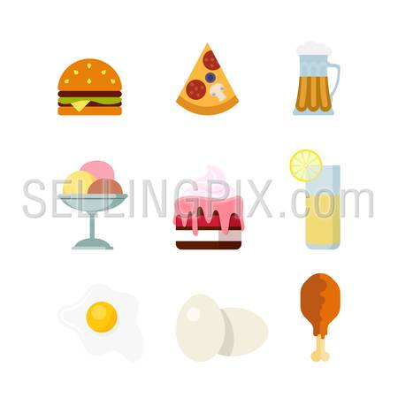 Flat creative style fast sweet food drink modern infographic vector icon set. Burger pizza beer ice cream cake lemonade egg chicken. Meal time icons collection.