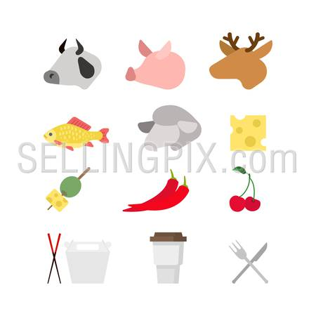 Flat creative style modern misc food infographic vector icon set. Cow pig deer fish lamb cheese olive pepper cherry sushi sticks coffee. Meal time icons collection.