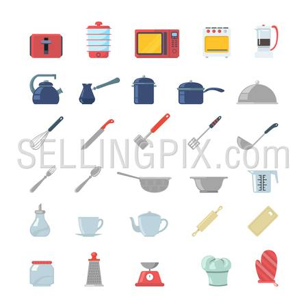Flat creative style kitchenware object electronics modern infographic vector icon set. Toaster dry cooker microwave oven coffee maker pot gezve pan cookware scales mixer. Kitchen icons collection.