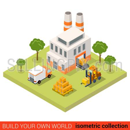 Flat 3d isometric conveyor plant factory loading tape delivery van pallet crate box building block infographic concept. Build your own infographics world collection.