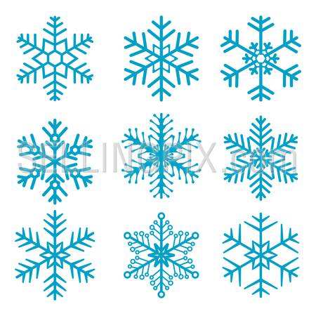 Snowflake isolated decoration vector icon set 01
