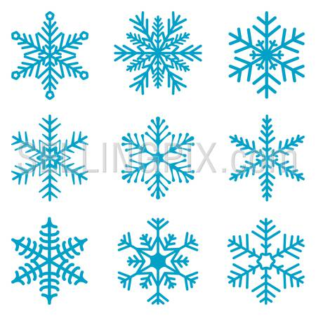 Snowflake isolated decoration vector icon set 02