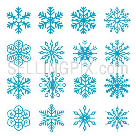 Snowflake isolated decoration vector icon set 03