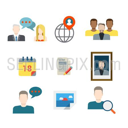 Flat style modern business chat social media network sharing communication web app concept icon set. People profile avatar picture calendar schedule mobile application. Website icons collection.