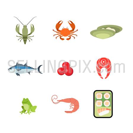 Flat style modern sea food web app concept icon set. Crab lobster crayfish crawfish oyster salmon caviar fish steak frog shrimp Japanese sushi roll mobile application. Website icons collection.
