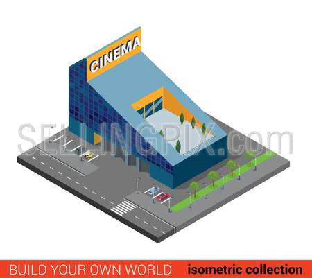Flat 3d isometric modern glass cinema building block infographic concept. Entertainment theater with parking. Build your own infographics world collection.