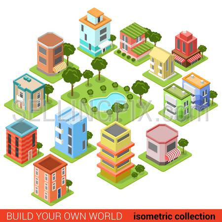 Flat 3d isometric building block small business square park eatery restaurant shop infographic concept. Build your own infographics world collection.