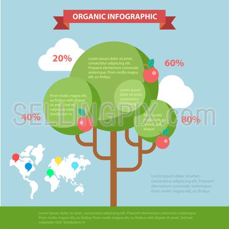 Organic life flat style thematic infographics concept. Global eco friendly tree branch shape lifestyle info graphic. Conceptual web site infographic collection.