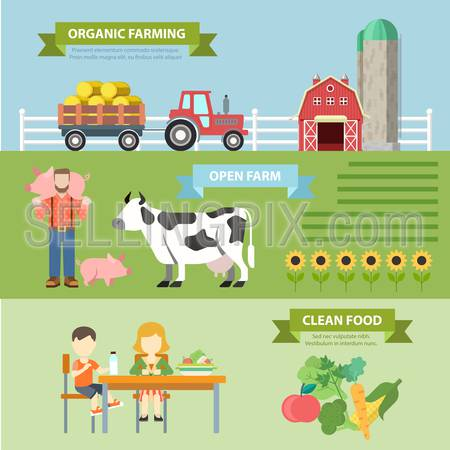 Organic natural farm flat style thematic infographics concept. Natural farming ecological food growth clean food info graphic. Conceptual web site infographic collection.