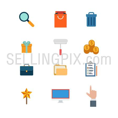Flat style modern business mobile web app concept icon set. Search add to shopping bag cart trash can gift box coin money cent briefcase folder checklist star monitor touch. Website icons collection.