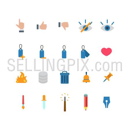 Flat style creative modern mobile web app concept icon set. Like dislike touch eye label heart like fire database trash can bell pin pipette brush magic wand pencil. Website icons collection.