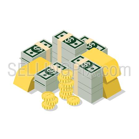 Flat 3d isometric heap of dollar banknote pack coin golden bar web infographics concept. Creative people collection.
