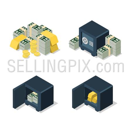 Flat 3d isometric set of dollar banknote coin golden bar heap security safe web infographics concept. Creative people collection.