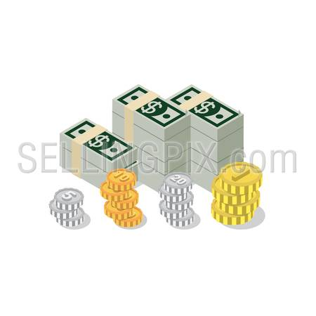 Flat 3d isometric heap of dollar banknote pack coin web infographics concept. Creative people collection.