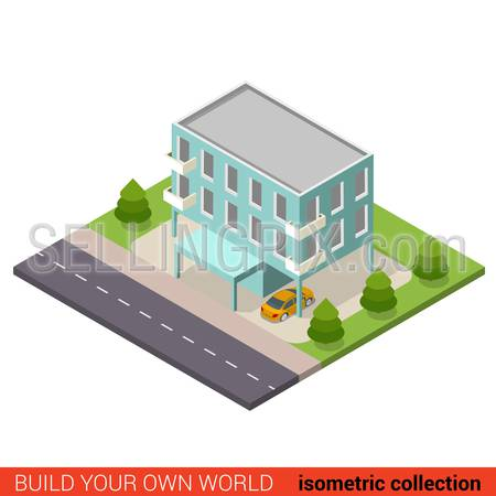 Flat 3d isometric creative municipal office condo condominium hostel dormitory modern building block info graphic concept. Build your own infographics world collection.