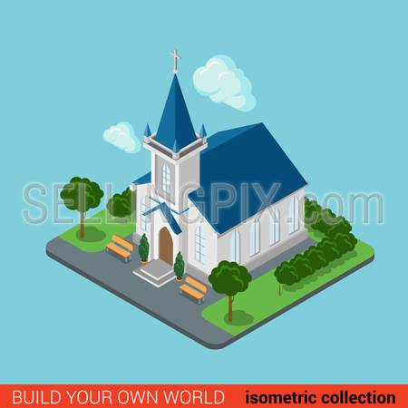 Flat 3d isometric creative modern Christian church building block info graphic concept. Build your own infographics world collection.