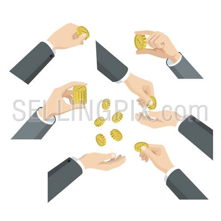 Flat 3d isometric set of hands with coins web infographics vector concept. Give take throw toss put in demonstrate. Creative people collection.