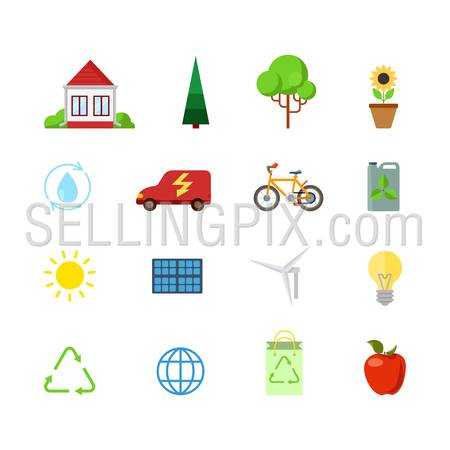 Flat style creative modern mobile eco green energy power web app concept icon set. Consumption nature friendly sun battery water circuit circulation wind turbine recycling. Website icons collection.
