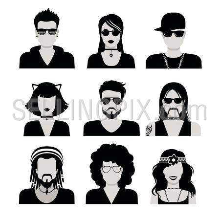 Flat style black and white people haircut vector icon set. Young male female hipster programmer designer beard mustache emo avatar collection.