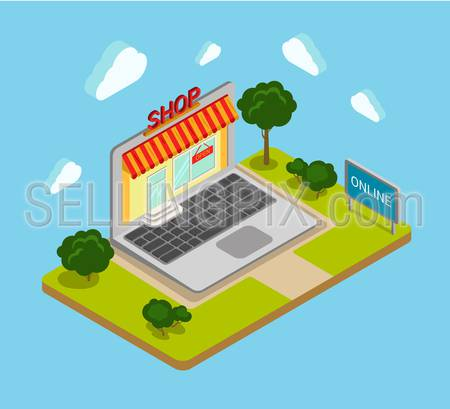 Flat 3d isometric online shop shopping web infographics concept. Creative website blog picture banner collection.