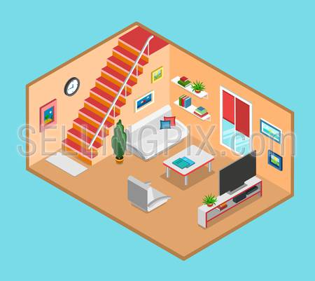 Flat 3d isometric living room interior web infographics concept. Creative people collection.