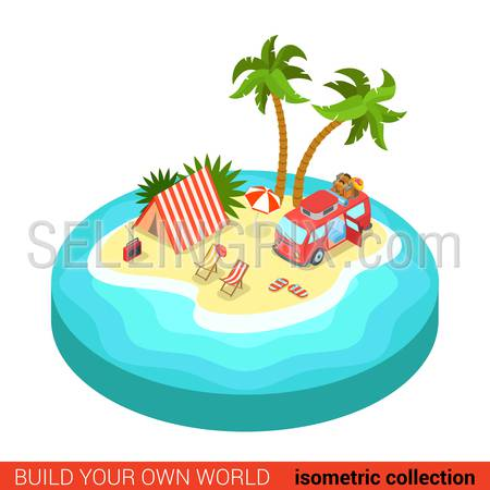 Flat 3d isometric hippie van outdoor tent lounge beach chair on tropic island modern info graphic concept. Build your own infographics world collection.