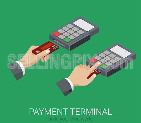 Flat 3d isometric credit card payment POS terminal PIN code usage web infographics concept. Creative people collection.