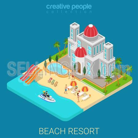 Flat 3d isometric creative beach hotel web infographics travel vacation concept. Luxury class five star resort island water slide bike jetski. Creative people collection.