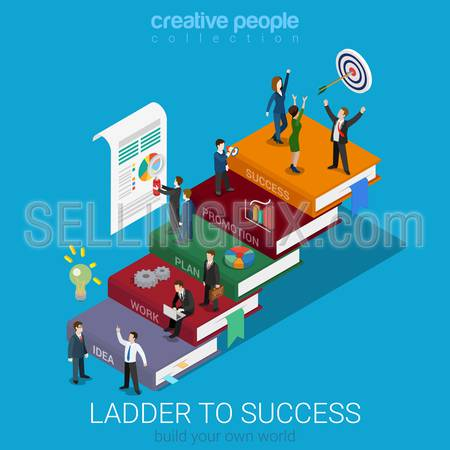 Flat 3d isometric ladder to success web infographics concept. Businessmen on big book step way idea work plan promotion success. Creative people collection.