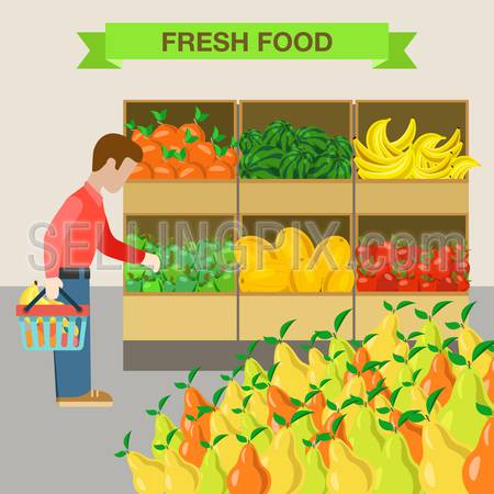 Flat style man choosing apple agriculture fruit market showcase box web infographic icons. Apple watermelon melon banana pear. Website infographics collection.