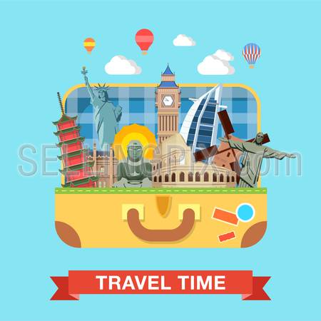 Flat style open suitcase with famous sights of the world travel tourism concept infographics vector illustration. Rome Coliseums Christ Statue Rio London Big Ben Liberty Statue Buddha Beijing Emperor.