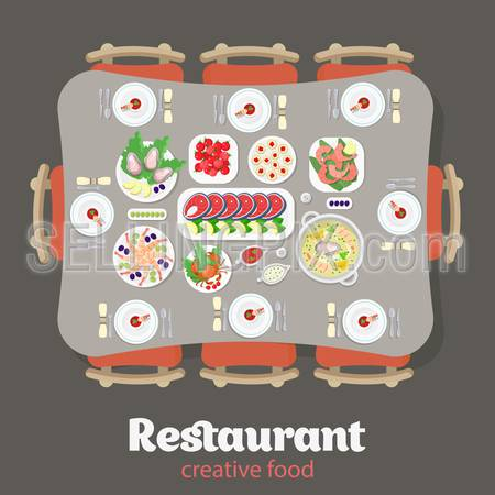 Restaurant flat style design vector graphic top view elements set. Japanese Lobster Fish steak Shrimps Oysters Caviar Soup Sausage Meat food Desert Cake Plates Soy sauce icon illustrations collection.
