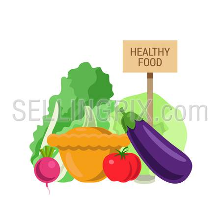 Flat style agriculture fruit healthy food web infographic icons concept. Collage of radish tomato eggplant salad cabbage squash and wooden signboard. Website infographics collection.